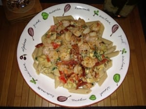 Shrimp Penne Pasta with Creamy Tomato Garlic Sauce